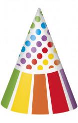 8 Chapeaux de fête Anniversaire Rayé