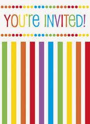 8 Invitations avec enveloppes Anniversaire Rayé