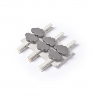 6 Pinces nuage grises 4.5 cm