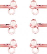 6 Mini pinces avec sucettes roses