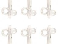 6 Mini pinces blanches avec sucettes cristal