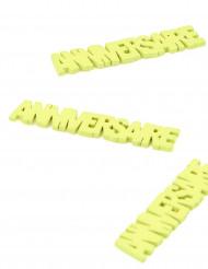 6 Confettis de table en bois anniversaire vert 7 cm
