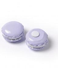 6 Macarons résine lilas adhésif