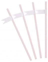 24 Pailles boudoirs roses personnalisables