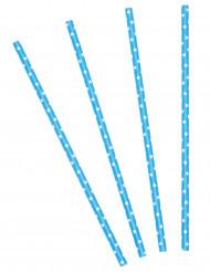 24 Pailles bleues turquoises à pois blancs