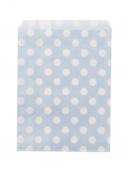 24 Sachets papier bleu ciel à pois blancs