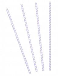 24 Pailles chevrons blanc/lavande