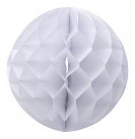 Boule papier alvéolée blanche 30 cm