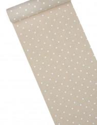 Chemin de table lin à pois blancs 30 cm x 5 m