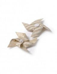 4 Mini moulins lin rayés adhésifs