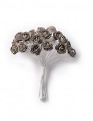 24 Mini roses gris foncé sur tige