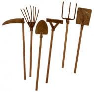 12 Décoration mini outils de jardin rouillés 9 cm