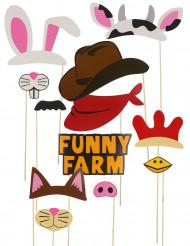 Kit photobooth 12 pièces thème animaux et cow boys