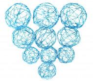 10 boules acier tressé bleu turquoise