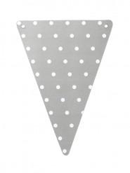 5 Fanions DIY gris en carton à pois blancs