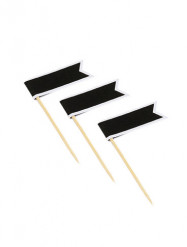 11 Pics drapeaux adhésifs noirs