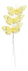 3 Papillons jaunes sur tige