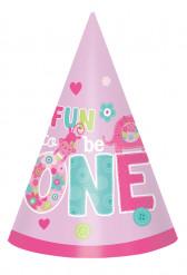 8 Chapeaux d'anniversaire 1 an fille