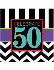 16 Serviettes en papier Celebrate 50 ans 33 x 33 cm