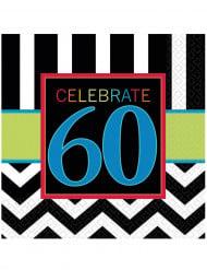 16 Serviettes en papier Celebrate 60 ans 33 x 33 cm