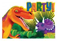 8 cartes d'invitation avec enveloppes Dino Party