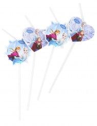 6 Pailles cœur et flocon bleus La Reine Des Neiges™
