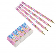 4 Crayons + 4 Gommes Princesses Disney™ et animaux