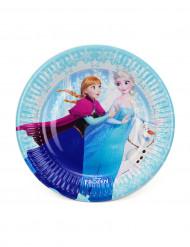 8 Petites assiettes en carton La Reine des Neiges ™ 19 cm
