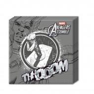 20 Serviettes en papier gris Avengers™ 33 x 33 cm