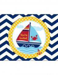 8 Cartons d'invitation Mon petit marin