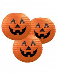 3 Lanternes en papier Citrouille Halloween 24 cm