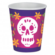 8 Gobelets en carton Dia de los Muertos 266 ml