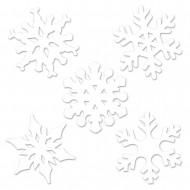 10 Mini décorations cartonnées Flocons de neige Noël