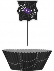 24 Moules à cupcakes avec pics Toile D'araignée Halloween