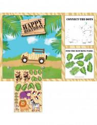 8 Sets de table en papier activités avec stickers Safari aventure 25 x 36 cm