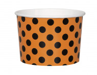 8 Coupelles en carton orange à pois noirs Halloween