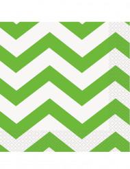 16 Serviettes en papier Chevrons Verts 33 x 33 cm