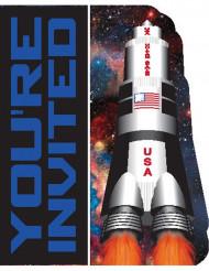 8 Cartons d'invitation anniversaire de l'espace