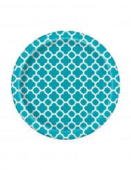 8 Petites assiettes en carton Grafik turquoise 17 cm