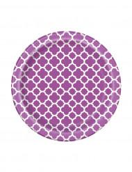 8 Petites assiettes en carton Grafik violet 17 cm