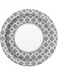 8 Assiettes en carton Grafik argenté 22 cm