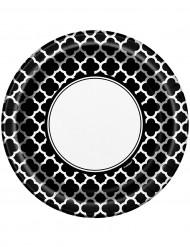 8 Assiettes en carton Grafik noir 23 cm