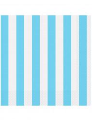 16 Serviettes en papier Rayées Bleues 33 x 33 cm
