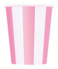 6 Gobelets blancs à rayures roses en carton 355 ml