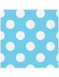 16 Serviettes en papier Bleu à pois 33 x 33 cm