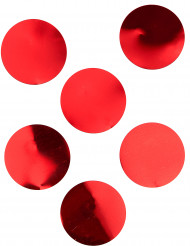 6 Confettis de table géants rouge brillant 8 cm