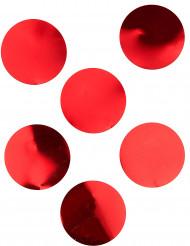 6 Confettis de table géants rouge brillant 8 cm