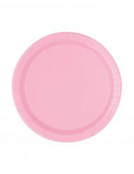 20 Petites assiettes rose clair en carton 17 cm