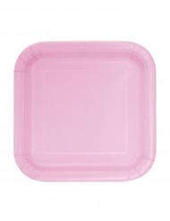 16 Petites assiettes carrées rose clair en carton 17 cm