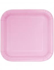 14 Assiettes carrées rose clair en carton 22 cm
